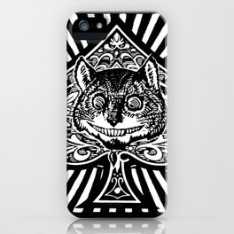 Cheshire Cat Black and White iPhone Case