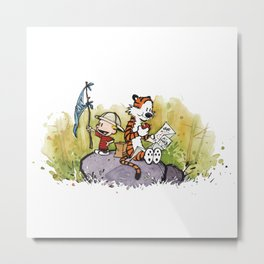 Calvin And Hobbes mapping Metal Print