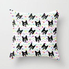 CMYK Cat Pattern Throw Pillow