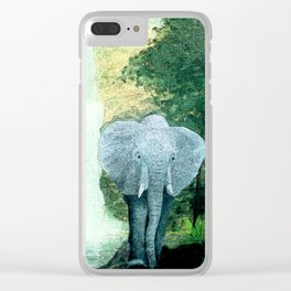 Elephant Walks the Jungle Clear iPhone Case