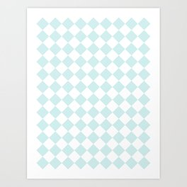 Diamonds - White and Light Cyan Art Print