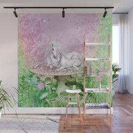 Wonderful unicorn with foal Wall Mural