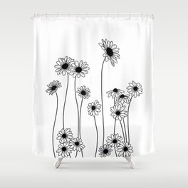 Minimal line drawing of daisy flowers Shower Curtain