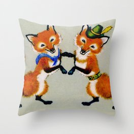 Dancing foxes Throw Pillow