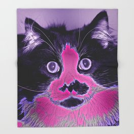 Colored Kitty Throw Blanket