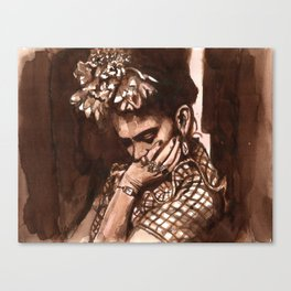 Frida Kahlo in watercolor Canvas Print
