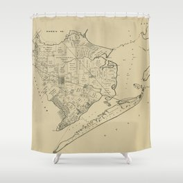 Vintage Map of Galveston Texas (1892) Shower Curtain