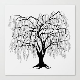 weeping willow on the gray background Canvas Print