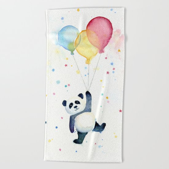 Birthday Panda Balloons Cute Animal Watercolor Beach Towel