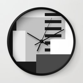 Carson Abstract Geometric Print in Black and White Wall Clock