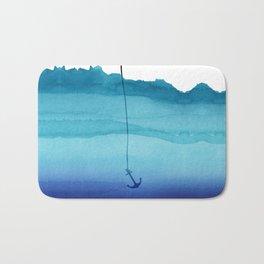 Cute Sinking Anchor in Sea Blue Watercolor Bath Mat