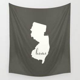 New Jersey is Home - White on Charcoal Wall Tapestry