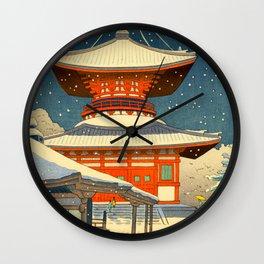 Asano Takeji Views of Wakayama Koyasan Nemoto Big Pagoda Japanese Woodblock print Wall Clock