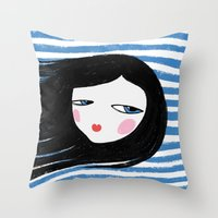 marina Throw Pillows featuring Marina by Mimology
