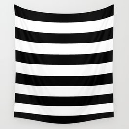 Simply Stripes in Midnight Black Wall Tapestry