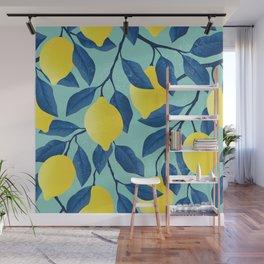 Vintage yellow lemon tree hand drawn illustration Wall Mural