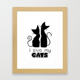 I Love My Cats (Lights) Framed Art Print