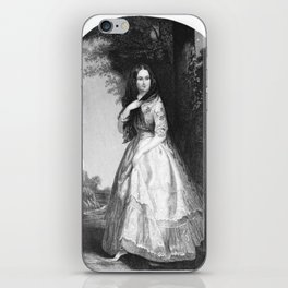 black and white picture of a victorian women iPhone Skin