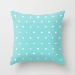 Baby Blue Heart Pattern Throw Pillow