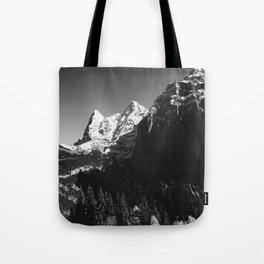 Swiss Alps Black and White Tote Bag
