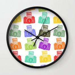 Colorful Cameras Wall Clock