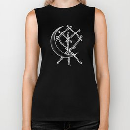 Crescent Moon Rune Binding at Midnight Biker Tank