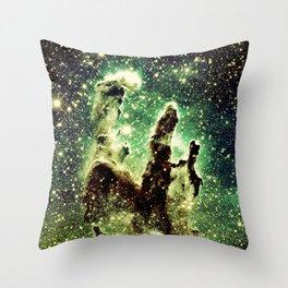 Green Pillars of Creation Throw Pillow