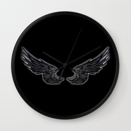 Black Angel Wings Wall Clock