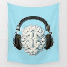 Mind Music Connection /3D render of human brain wearing headphones Wall Tapestry