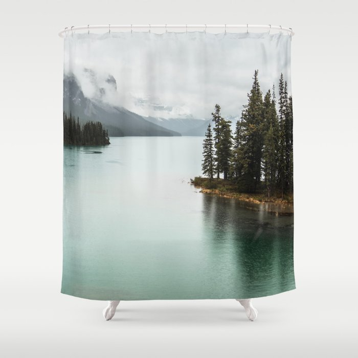Landscape Photography Maligne Lake Shower Curtain By Wildhood