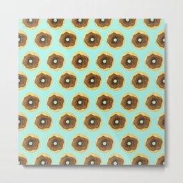 Donut Small Pattern - Blue Metal Print