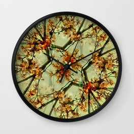Floral Motif Print Pattern Collage Wall Clock