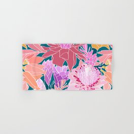 Ginger Flowers in Coral + Dark Teal Green Hand & Bath Towel