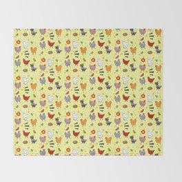 Cute seamless chickens pattern cartoon Throw Blanket
