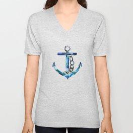 blue green anchor watercolor Unisex V-Neck