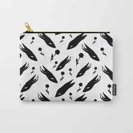 Black Rabbits and black flowers Carry-All Pouch