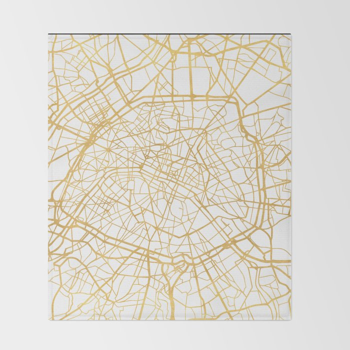 PARIS FRANCE CITY STREET MAP ART Throw Blanket by deificusart | Society6