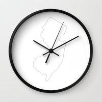 new jersey Wall Clocks featuring New Jersey by mrTidwell