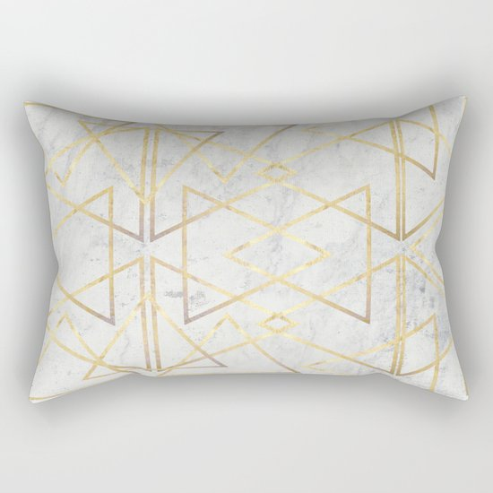 wire gOld triangle Rectangular Pillow