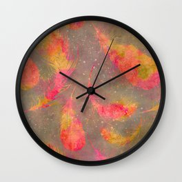 Feather pink and orange Wall Clock
