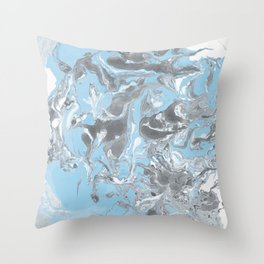 Cyan and grey Marble texture acrylic Liquid paint art Throw Pillow