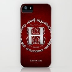 Joshua 24:15 - (Silver on Red) Monogram H iPhone (5, 5s) Slim Case