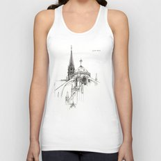 Notre Dame Cathedral Sketch Unisex Tank Top