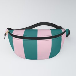 Classic Cabana Stripes in Conch Pink + Dark Teal Green Fanny Pack