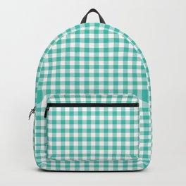 Modern green white checker picnic stripes pattern Backpack