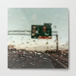 Driving on a rainy day Metal Print