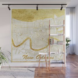 New Orleans Map Gold Wall Mural