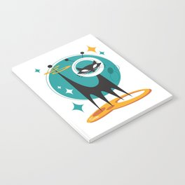 Atomic Space Cat Mid Century Modern Art Scooter Notebook