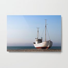 Fishing boat pulled up on beach Metal Print
