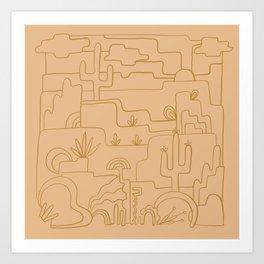 saguaro cactus line drawing –peach Art Print